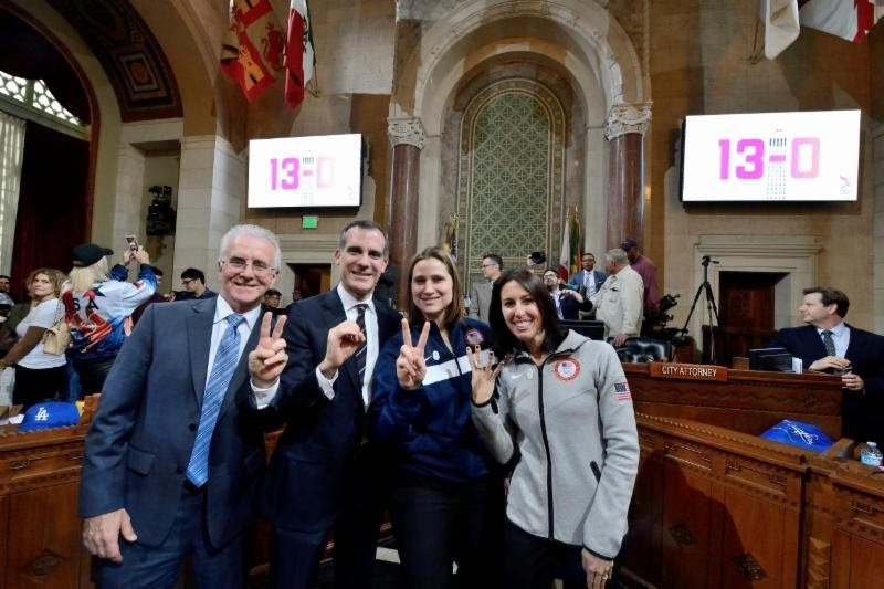 Councilmember Krekorian, Mayor Garcetti, IOC member Angela Ruggiero and former Olympian and LA 2024 Vice Chair Janet Evans celebrate the City Council's vote.