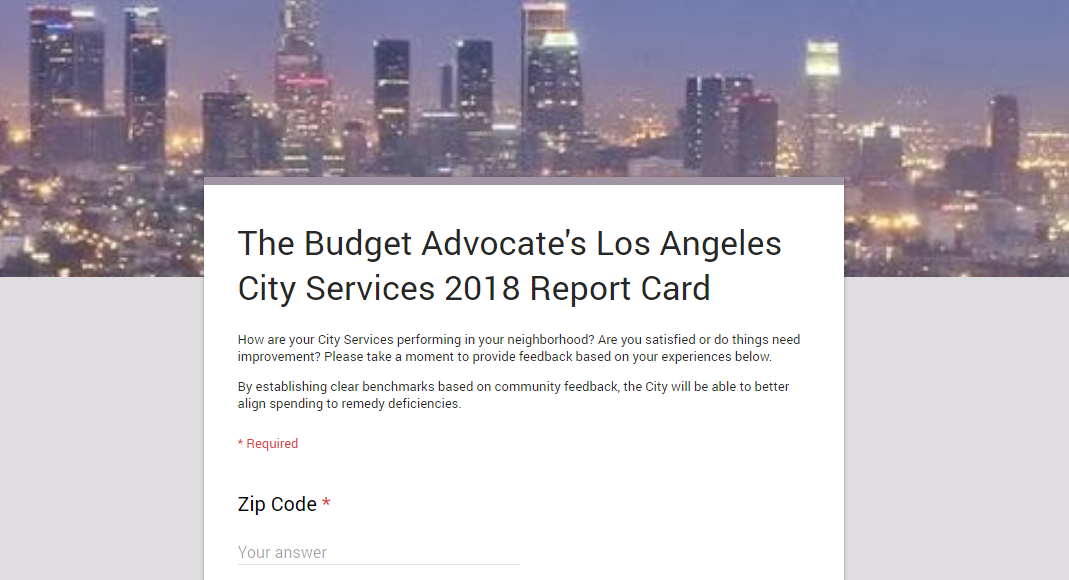 The Budget Advocate s Los Angeles City Services 2018 Report Card