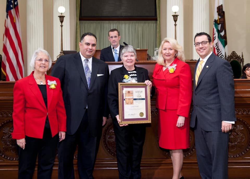 Linda Pruett accepting her Woman of the Year award. 2011 California State Assembly's Woman of the Year